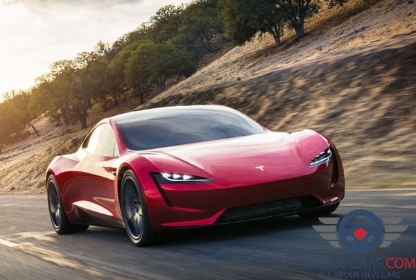 Front view of Tesla Roadster of 2018 year