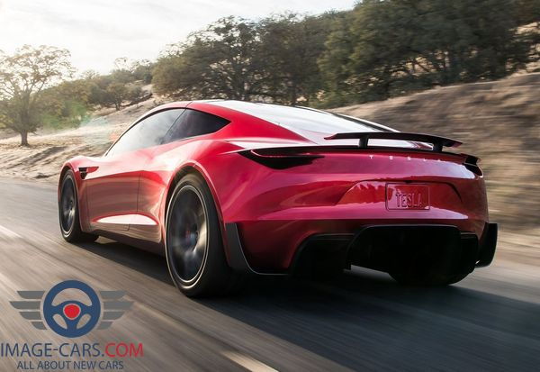 Rear view of Tesla Roadster of 2018 year
