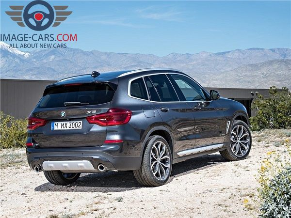 Rear view of BMW X3 of 2018 year