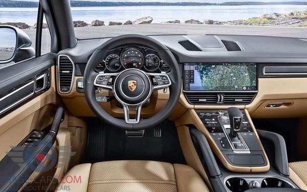 Dashboard view of Porsche Cayenne of 2018 year