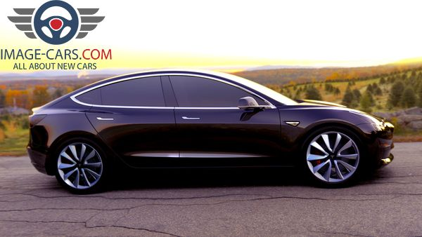 Right side view of Tesla Model 3 of 2017 year