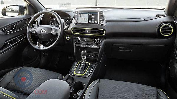 Dashboard view of Hyundai Kona of 2018 year