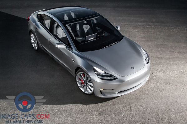Front right side view of Tesla Model 3 of 2017 year