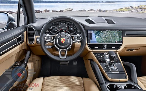 Dashboard view of Porsche Cayenne of 2018 year