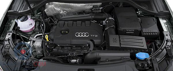 Engine view of Audi Q3 of 2018 year