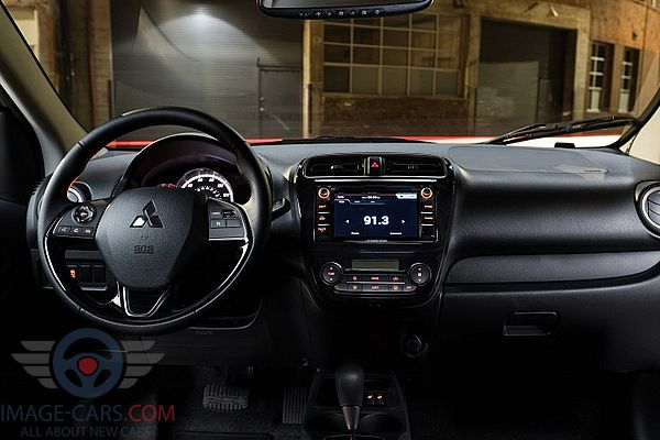 Dashboard view of Mitsubishi Mirage of 2018 year